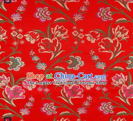 Traditional Chinese Red Brocade Drapery Classical Tulipa Pattern Design Satin Cheongsam Silk Fabric Material