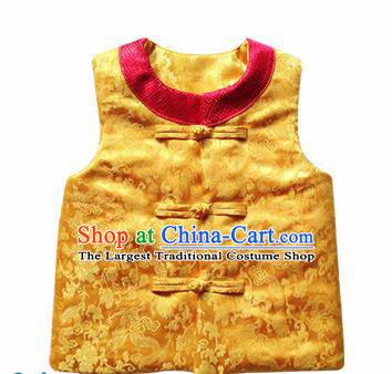 Chinese Classical Yellow Brocade Vest Traditional Baby Embroidered Cotton-Padded Waistcoat for Kids