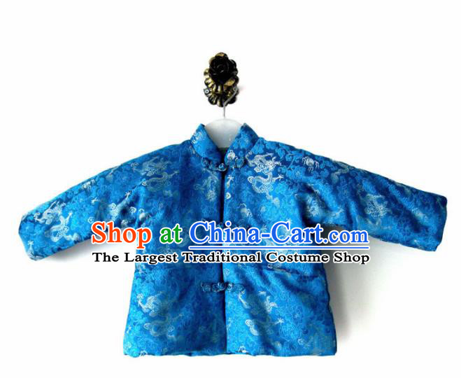 Chinese Classical Blue Brocade Blouse Traditional Baby Embroidered Cotton-Padded Jacket for Kids