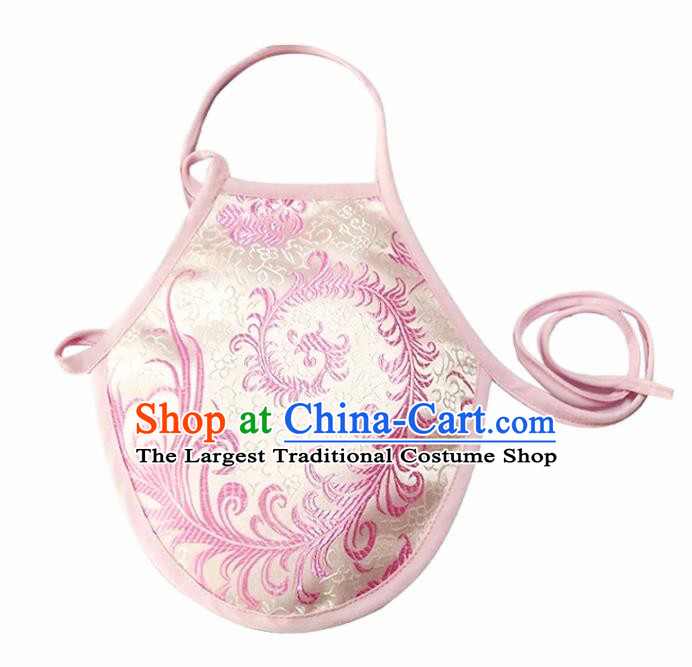 Chinese Classical Brocade Bellyband Traditional Baby White Silk Stomachers for Kids