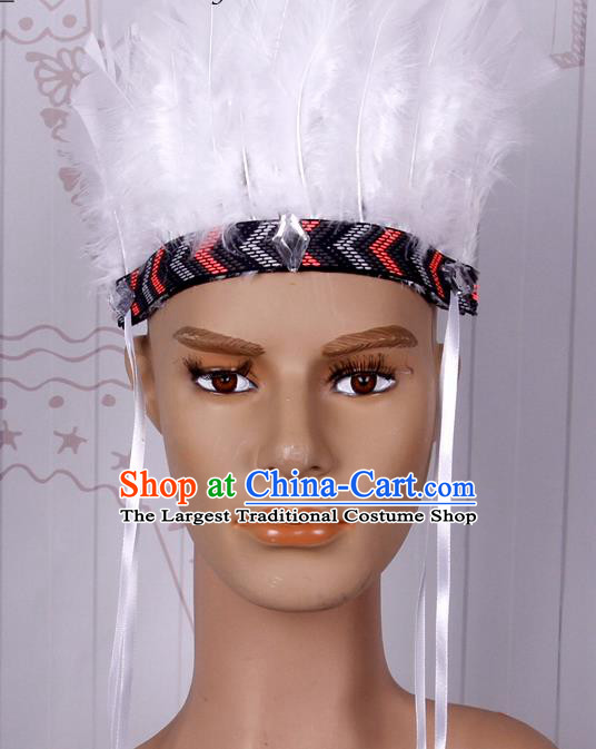 Halloween Catwalks White Feather Hair Accessories Cosplay Primitive Tribe Feather Hat for Adults