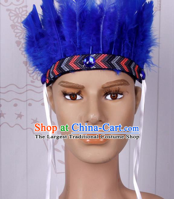 Halloween Catwalks Blue Feather Hair Accessories Cosplay Primitive Tribe Feather Hat for Adults