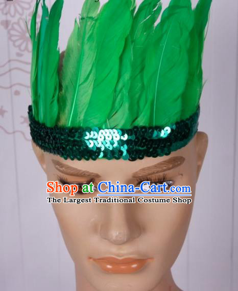 Halloween Catwalks Green Feather Hair Accessories Cosplay Primitive Tribe Feather Hat for Adults