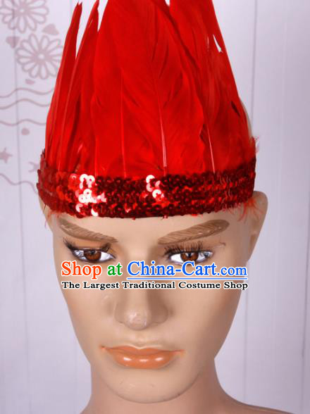 Halloween Catwalks Red Feather Hair Accessories Cosplay Primitive Tribe Feather Hat for Adults