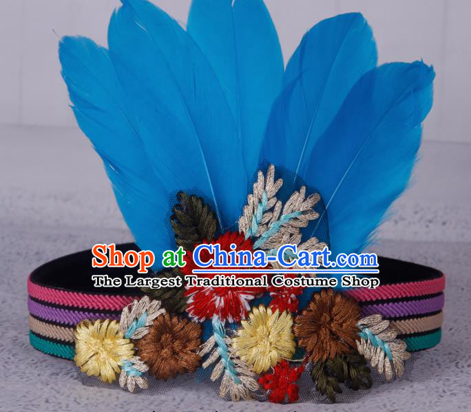 Halloween Catwalks Apache Knight Blue Feather Hair Accessories Cosplay Primitive Tribe Feather Hat for Adults