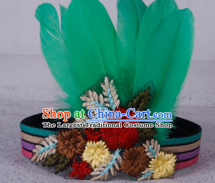 Halloween Catwalks Apache Knight Green Feather Hair Accessories Cosplay Primitive Tribe Feather Hat for Adults