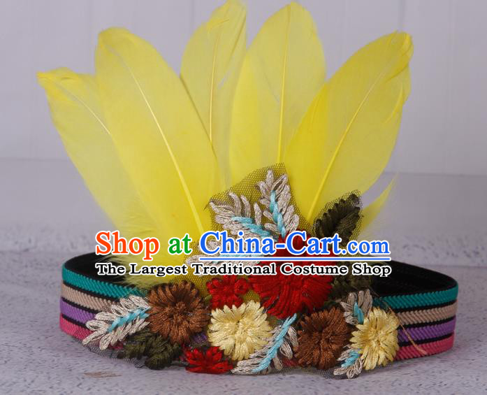 Halloween Catwalks Apache Knight Yellow Feather Hair Accessories Cosplay Primitive Tribe Feather Hat for Adults