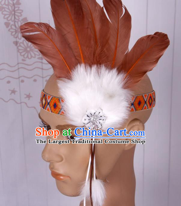 Halloween Catwalks Apache Chief Brown Feather Hair Accessories Cosplay Primitive Tribe Feather Hat for Adults