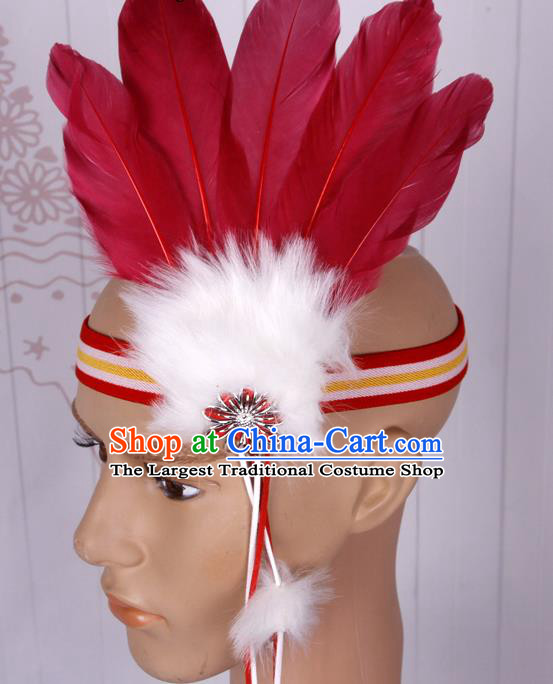 Halloween Catwalks Apache Chief Wine Red Feather Hair Accessories Cosplay Primitive Tribe Feather Hat for Adults