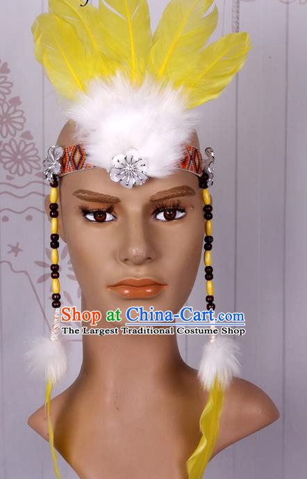 Halloween Catwalks Apache Chief Yellow Feather Hair Accessories Cosplay Primitive Tribe Feather Hat for Adults