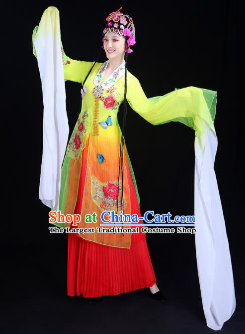 Chinese Traditional Classical Dance Costumes Folk Dance Beijing Opera Water Sleeve Yellow Dress for Women