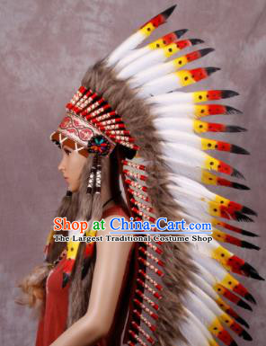 Halloween Performance Catwalks Headwear Cosplay Apache Knight Hair Accessories Feather Hat for Adults