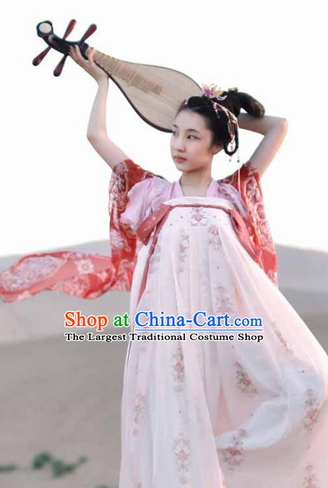 Chinese Ancient Palace Hanfu Dress Tang Dynasty Imperial Consort Embroidered Costumes for Women