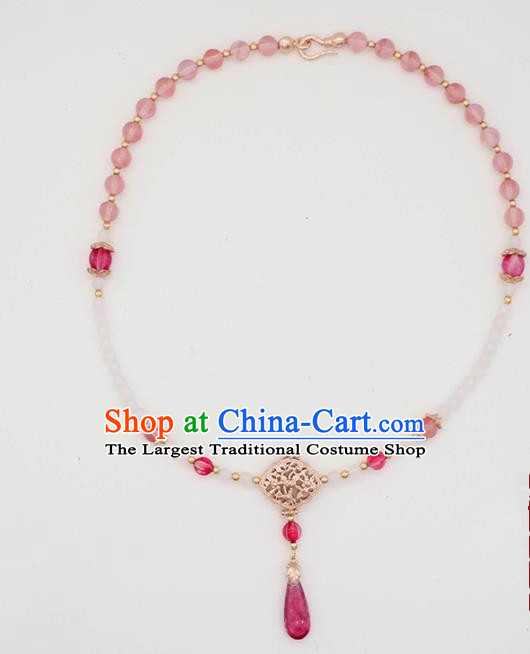 Traditional Chinese Necklace Ancient Handmade Palace Lady Pink Beads Necklet Accessories for Women