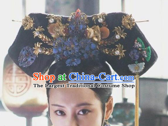 Chinese Traditional Handmade Hair Accessories Ancient Qing Dynasty Queen Hairpins and Wigs for Women
