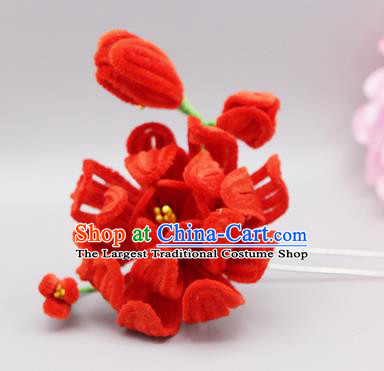 Chinese Traditional Handmade Hair Accessories Ancient Qing Dynasty Queen Red Velvet Flower Hairpins for Women
