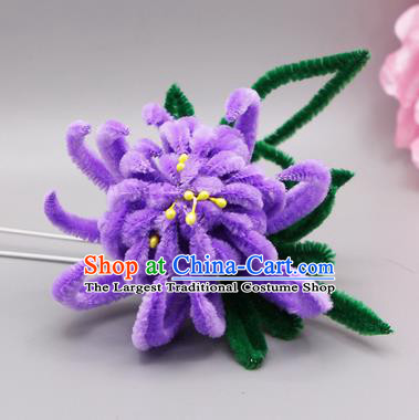 Chinese Traditional Handmade Hair Accessories Ancient Qing Dynasty Queen Purple Velvet Flower Hairpins for Women
