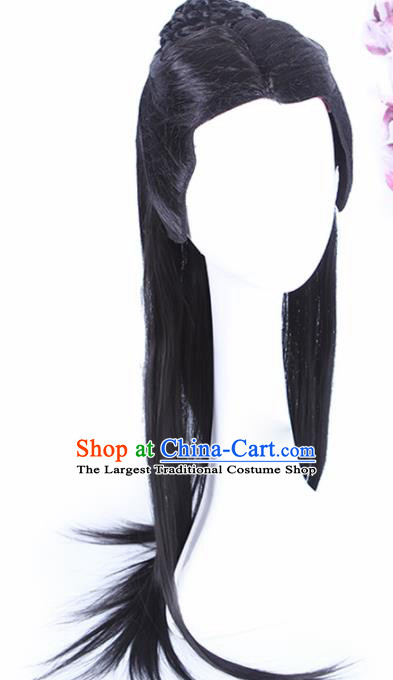 Traditional Chinese Drama Swordsman Handmade Peruke Wigs Ancient Nobility Childe Chignon for Men