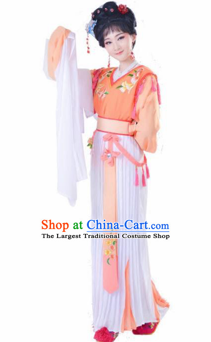 Chinese Traditional Peking Opera Actress Costumes Ancient Young Lady Orange Dress for Adults