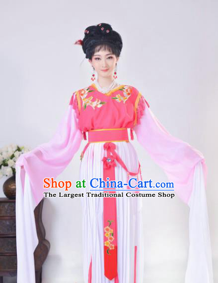 Chinese Traditional Peking Opera Actress Costumes Ancient Young Lady Pink Dress for Adults