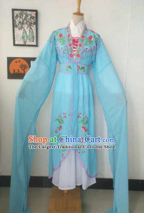Chinese Traditional Peking Opera Costumes Ancient Court Maid Blue Dress for Adults