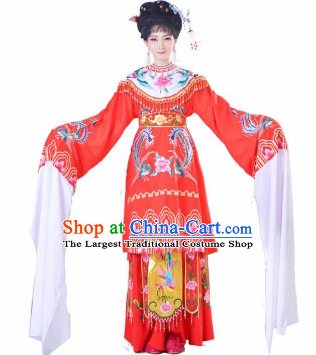 Chinese Traditional Peking Opera Queen Costumes Ancient Empress Red Dress for Adults