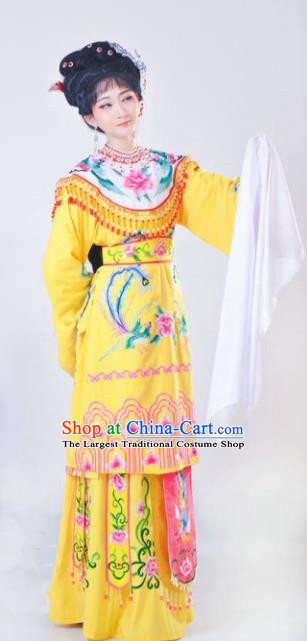Chinese Traditional Peking Opera Queen Costumes Ancient Empress Yellow Dress for Adults