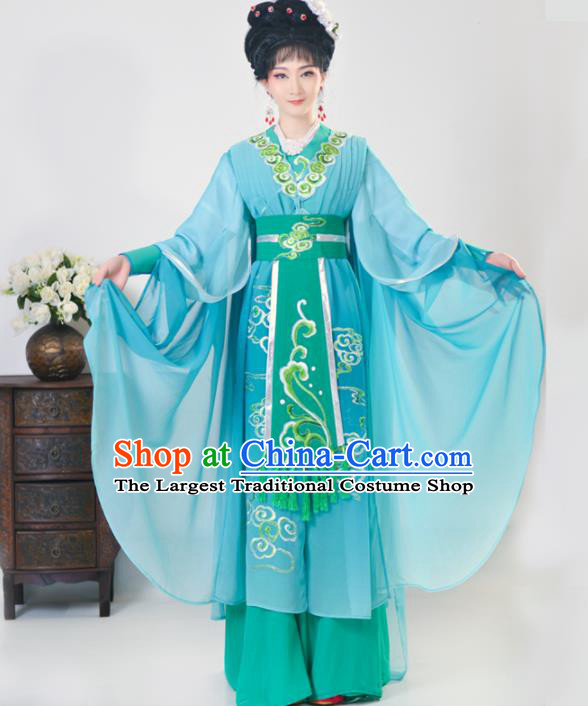 Chinese Traditional Peking Opera Princess Green Costumes Ancient Beijing Opera Diva Clothing for Adults