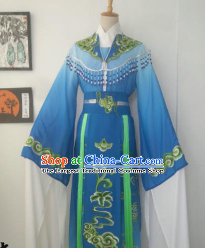 Chinese Traditional Peking Opera Diva Princess Costumes Ancient Beijing Opera Blue Dress for Adults