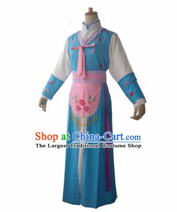 Chinese Traditional Peking Opera Maidservants Blue Costumes Ancient Beijing Opera Diva Dress for Adults