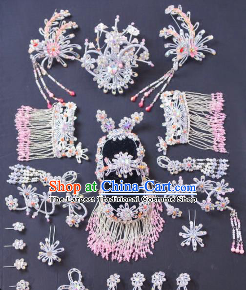 Chinese Traditional Peking Opera Diva Hair Accessories Ancient Princess Pink Hairpins Headwear for Adults