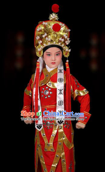Chinese Traditional Peking Opera Takefu Costume Ancient Warrior Clothing and Hat for Kids