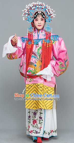 Chinese Traditional Peking Opera Princess Pink Costumes Ancient Palace Lady Embroidered Robe for Adults
