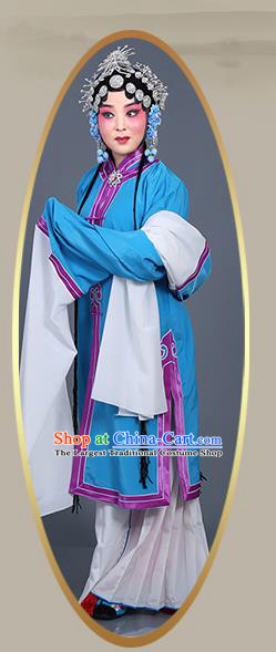 Chinese Traditional Beijing Opera Actress Costumes Ancient Young Mistress Blue Dress for Adults