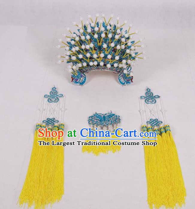 Chinese Traditional Peking Opera Actress Hat Ancient Bride Yellow Tassel Phoenix Coronet for Adults