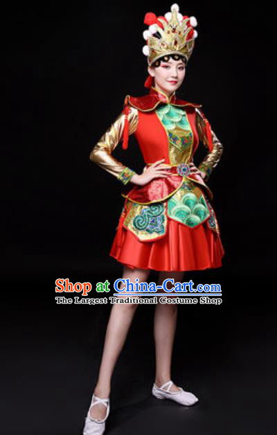 Chinese Traditional Mongol Nationality Folk Dance Costume Mongolian Minority Dance Red Dress for Women