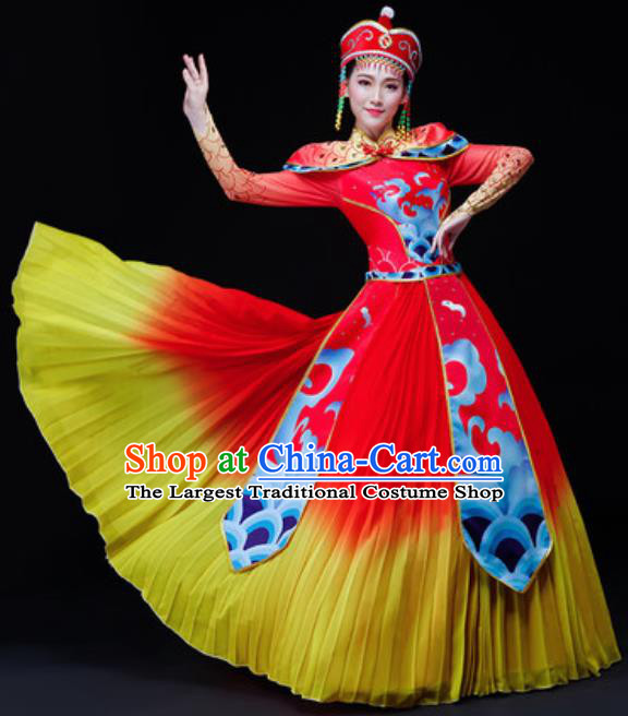 Chinese Traditional Mongol Nationality Folk Dance Costume Mongolian Minority Drum Dance Red Dress for Women