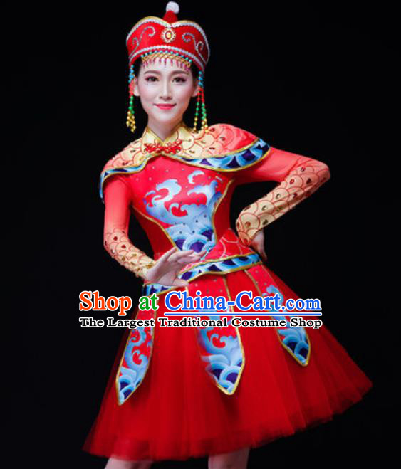 Chinese Traditional Mongol Nationality Folk Dance Costume Mongolian Minority Drum Dance Short Dress for Women