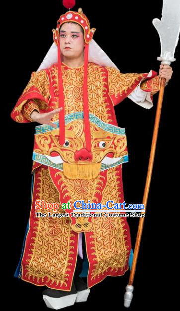 Chinese Traditional Peking Opera General Costume Ancient Imperial Bodyguard Red Armor for Adults