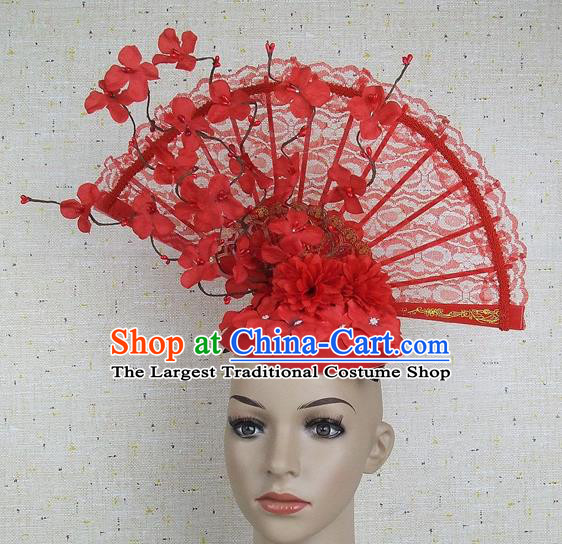Handmade Halloween Cosplay Hair Accessories Chinese Stage Performance Red Lace Hair Clasp Headwear for Women