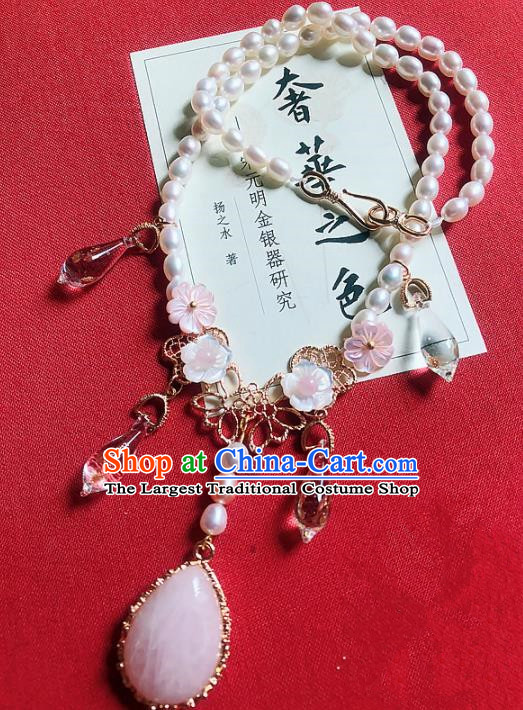 Chinese Traditional Wedding Necklace Ancient Handmade Hanfu Pearls Necklet for Women