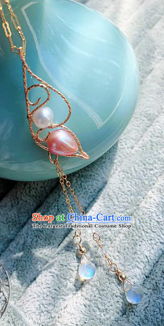 Chinese Traditional Handmade Wedding Necklace Ancient Hanfu Pink Pearl Necklet for Women
