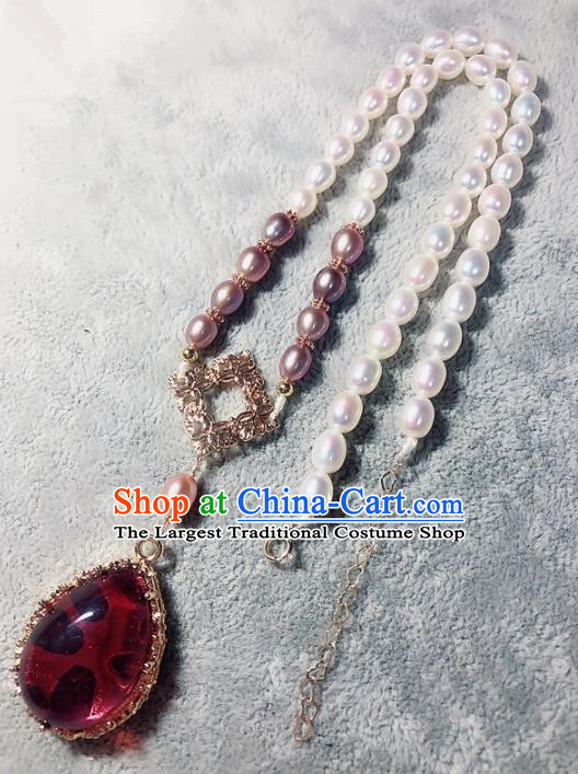 Chinese Traditional Handmade Hanfu Necklace Ancient Pearls Necklet for Women