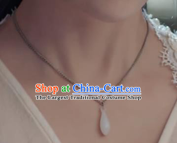 Chinese Traditional Handmade Hanfu Magnolia Flower Necklace Ancient Jade Necklet for Women