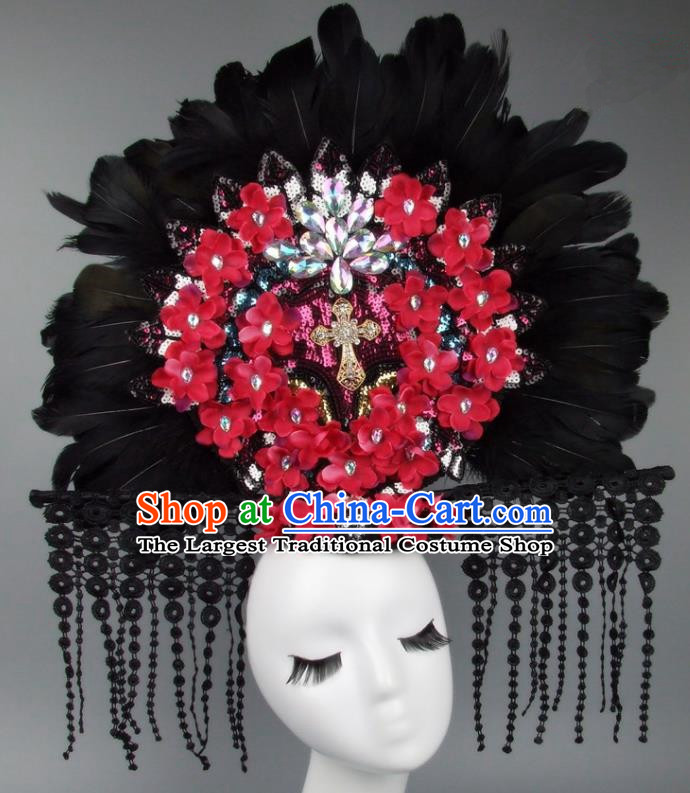 Handmade Halloween Cosplay Red Flowers Feather Hair Accessories Chinese Stage Performance Hair Clasp Headdress for Women