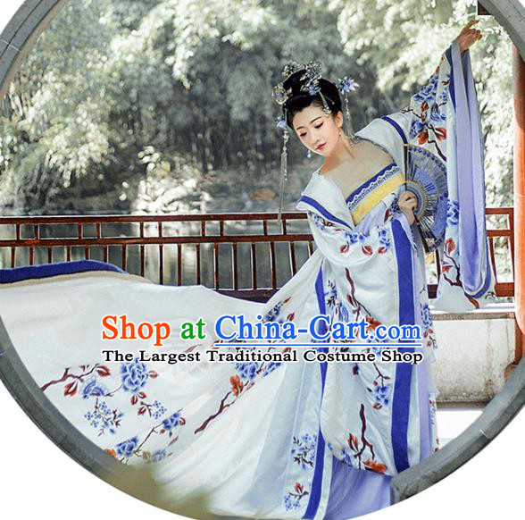 Chinese Traditional Palace Hanfu Dress Ancient Tang Dynasty Imperial Consort Embroidered Costumes and Headpiece for Women