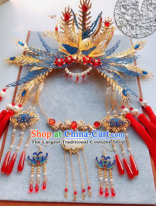 Handmade Chinese Ancient Phoenix Coronet Hair Accessories Hanfu Hairpins and Necklace for Women