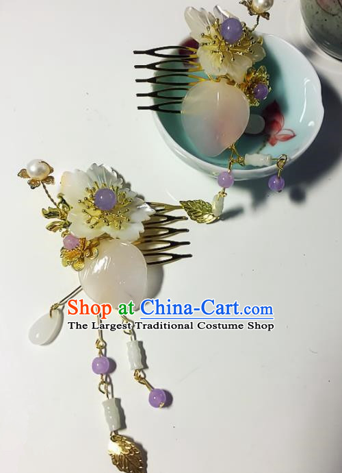 Chinese Handmade Ancient Tassel Hair Comb Palace Hair Accessories Hanfu Hairpins for Women