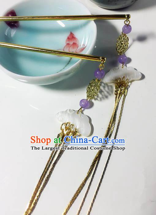 Chinese Handmade Ancient Jade Tassel Hair Clip Palace Hair Accessories Hanfu Hairpins for Women