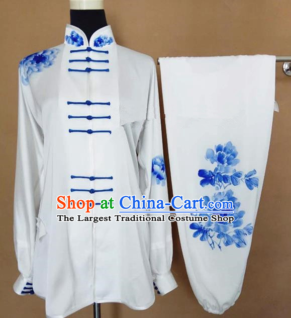 Chinese Traditional Martial Arts Printing Peony Costumes Tai Chi Tai Ji Training Clothing for Adults